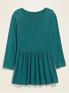 Plush-Knit 3/4-Sleeve Plus-Size Peplum-Hem Top