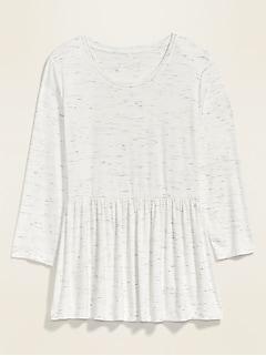 Jersey-Knit 3/4-Sleeve Plus-Size Peplum-Hem Top