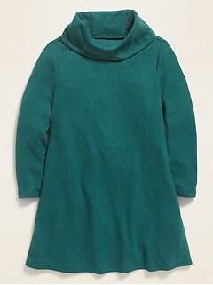 Robe évasée en tricot moelleux à col baveux pour toute-petite fille