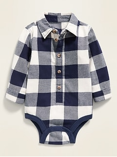 Unisex Long-Sleeve Button-Front Bodysuit for Baby