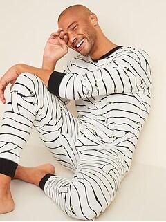 Halloween Glow-in-the-Dark Graphic One-Piece Pajamas for Men