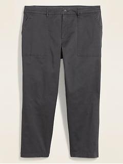 High-Waisted Secret-Slim Pockets Plus-Size Utility Chino Ankle Pants