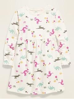 Printed Long-Sleeve T-Shirt Dress for Toddler Girls