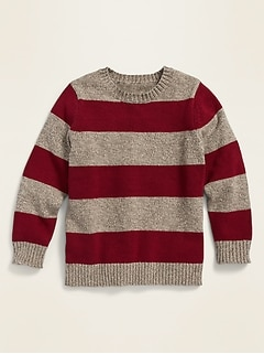 Rugby-Stripe Crew-Neck Sweater for Toddler Boys