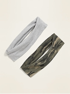Jersey Stretch-Knit Headbands 2-Pack for Women