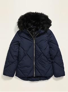 Veste rembourrée Frost-Free à capuchon doublée en fausse fourrure pour fille