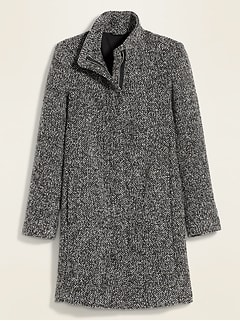 Manteau surdimensionné à col entonnoir au fini brossé soyeux et texturé pour femme