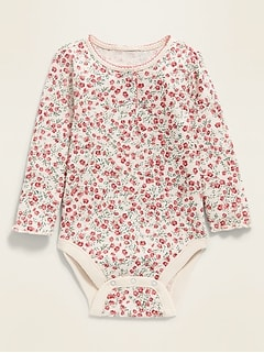 Unisex Floral Thermal Henley Bodysuit for Baby