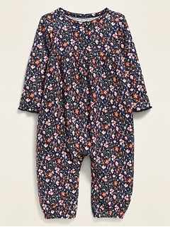 Floral Henley Thermal One-Piece for Baby