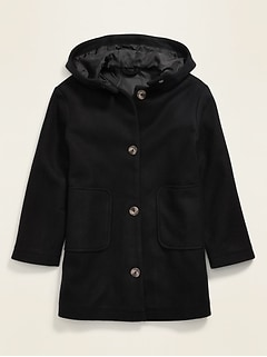 Hooded Soft-Brushed Coat for Girls