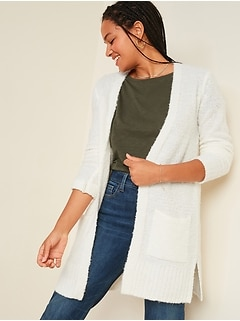 Cozy Bouclé Open-Front Long-Line Sweater for Women