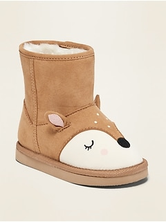 Faux-Suede Deer-Critter Boots for Toddler Girls