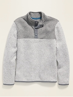 1/4-Zip Snap-Neck Sweater-Knit Pullover for Boys