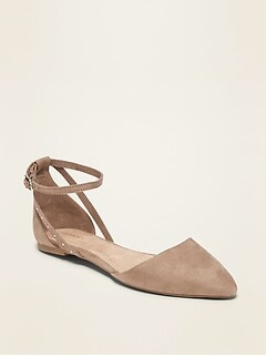 Faux-Suede D'Orsay Ankle-Strap Flats for Women