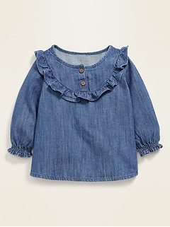 Ruffle-Trim Chambray Top for Baby
