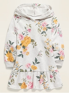 Hooded Patterned Sweatshirt Dress for Toddler Girls