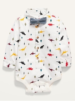 Printed Poplin Bodysuit and Bow-Tie for Baby