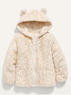 Hooded Sherpa Critter Jacket for Toddler Girls