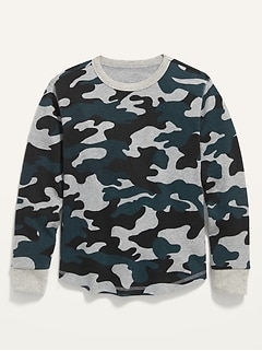 Camo Thermal-Knit Long-Sleeve Tee for Boys