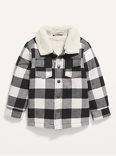 Unisex Sherpa-Lined Plaid Shirt Jacket for Toddler
