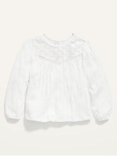 Lace-Yoke Puckered-Jersey Swing Top for Toddler Girls