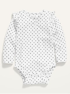 Printed Long-Sleeve Plush-Knit Bodysuit for Baby