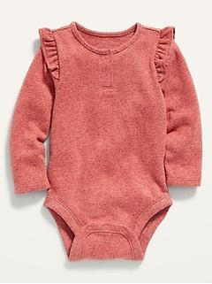 Unisex Long-Sleeve Plush-Knit Ruffle-Trim Bodysuit for Baby