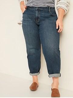 Mid-Rise Boyfriend Straight Plus-Size Jeans for Women