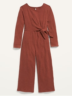 Side-Tie Rib-Knit Jumpsuit for Girls