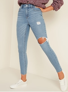 High-Waisted Rockstar Super Skinny Ripped Ankle Jeans for Women