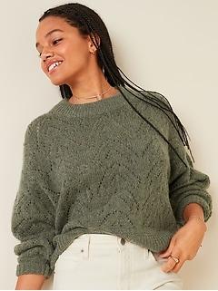 Chandail ras du cou en tricot pointelle douillet pour femme