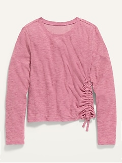 Ultra-Soft Breathe ON Built-In Flex Side-Tie Tee for Girls
