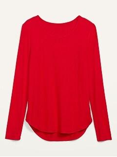 Cozy Plush-Knit Long-Sleeve Tee for Women