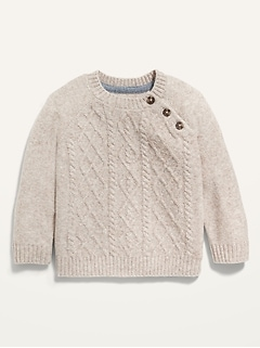 Unisex Cable-Knit Raglan Sweater for Baby