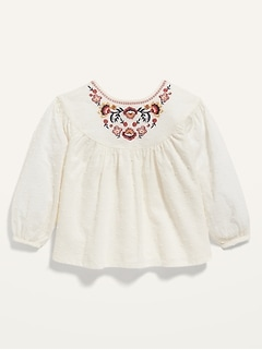 Embroidered Swiss Dot Babydoll Top for Toddler Girls