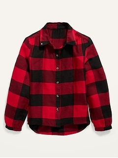 Button-Front Plaid Top for Girls