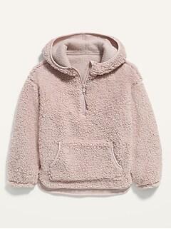 Cozy Sherpa Half-Zip Hoodie for Girls