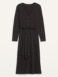 Rib-Knit Button-Front Tie-Belt Plus-Size Midi Dress