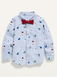 Holiday-Print Shirt and Tie Set for Toddler Boys