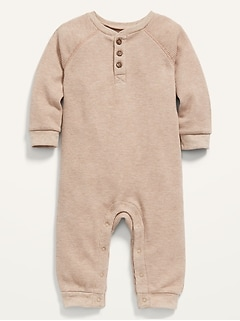 Unisex Thermal Raglan-Sleeve Henley One-Piece for Baby
