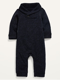 Shawl-Collar Sweater-Knit One-Piece for Baby