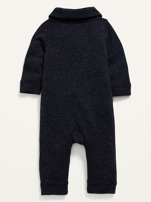Unisex Shawl-Collar Sweater-Knit One-Piece for Baby