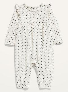 Polka-Dot Plush-Knit Ruffle-Trim One-Piece for Baby