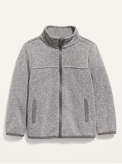 Veste en tricot à glissière et col montant pour tout-petit garçon