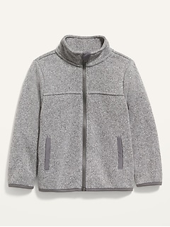 Unisex Mock-Neck Sweater-Knit Zip Jacket for Toddler