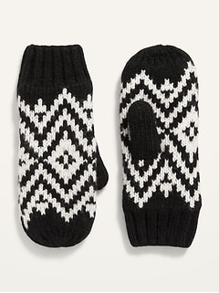 Go-Warm Fair Isle Sweater-Knit Mittens for Women