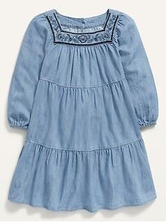 Robe étagée en cambrai brodée à encolure carrée pour toute-petite fille