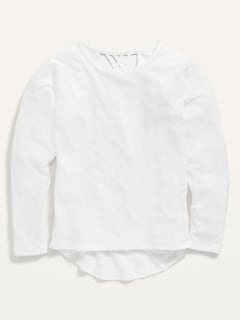 Softest Long-Sleeve Lattice-Back Tee for Girls