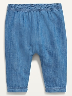 Unisex Chambray U-Shape Pull-On Pants for Baby