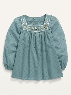 Embroidered Swiss Dot Square-Neck Top for Toddler Girls